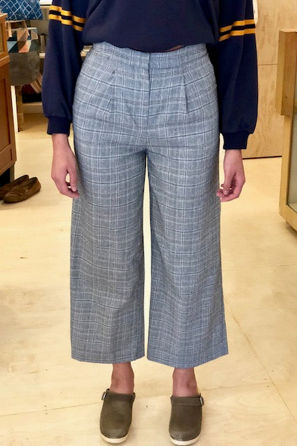 J.O.A. Glen Check Wide Leg Pant