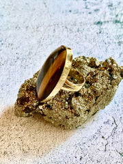 Tiger's Eye Brass Ring