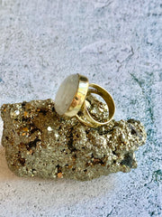Moonstone Brass Ring