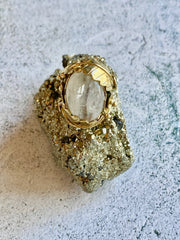 Moonstone Leaf Brass Ring