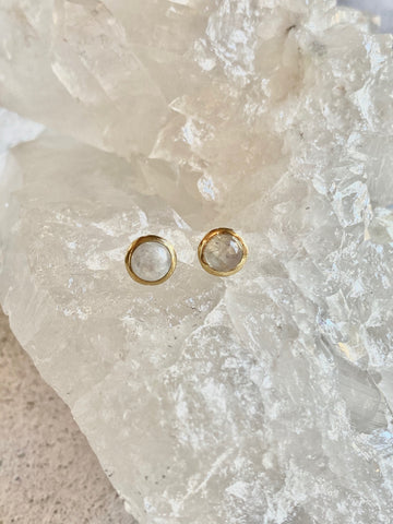 Moonstone with Brass Studs