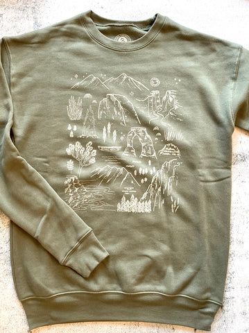 Iconic National Parks Crew Sweatshirt