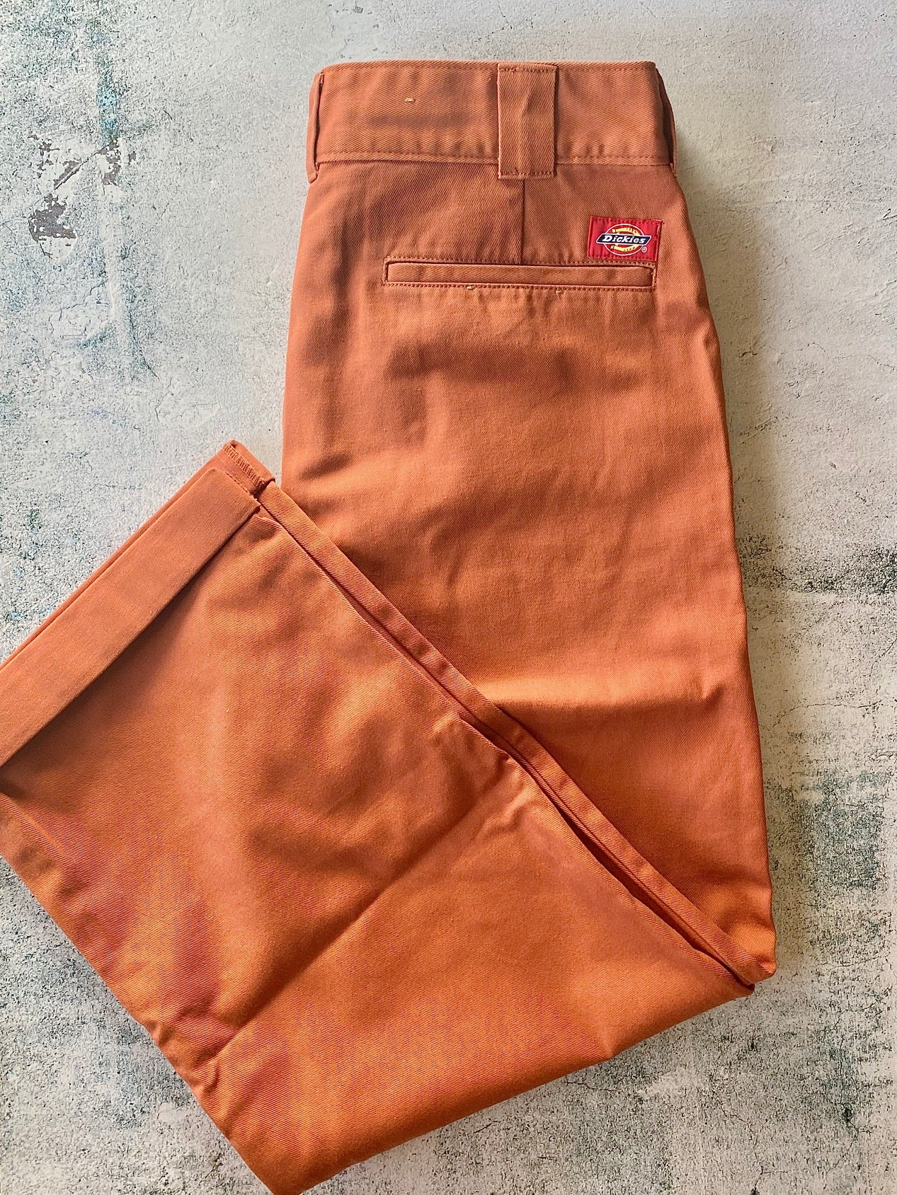 "Dickies Girl Roll Hem 26"" High Rise Work Cropped Pants, Auburn"