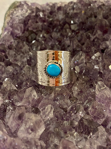 Stamped Band with Kingman Turquoise