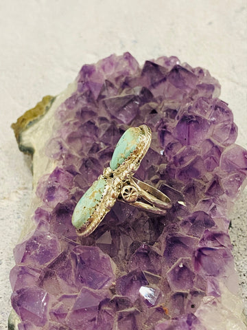 Double Tear Drop Turquoise Ring