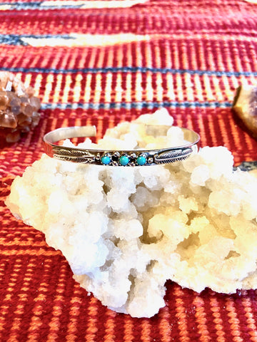 Stamped Feather & Turquoise Bracelet