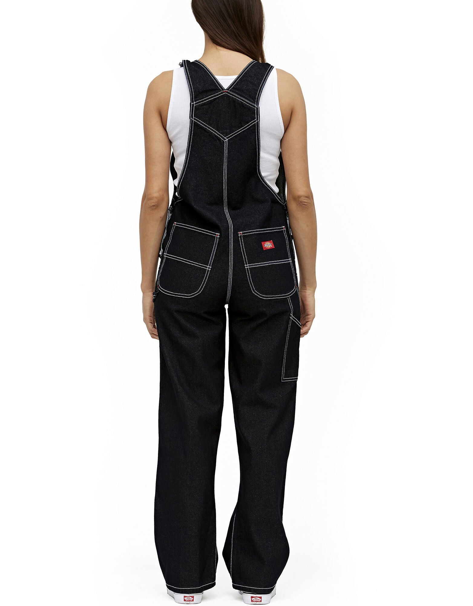Dickies Girl Juniors' Relaxed Twill Overalls, Black
