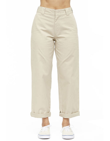Dickies Girl Juniors' Roll Hem High Rise Work Cropped Pants