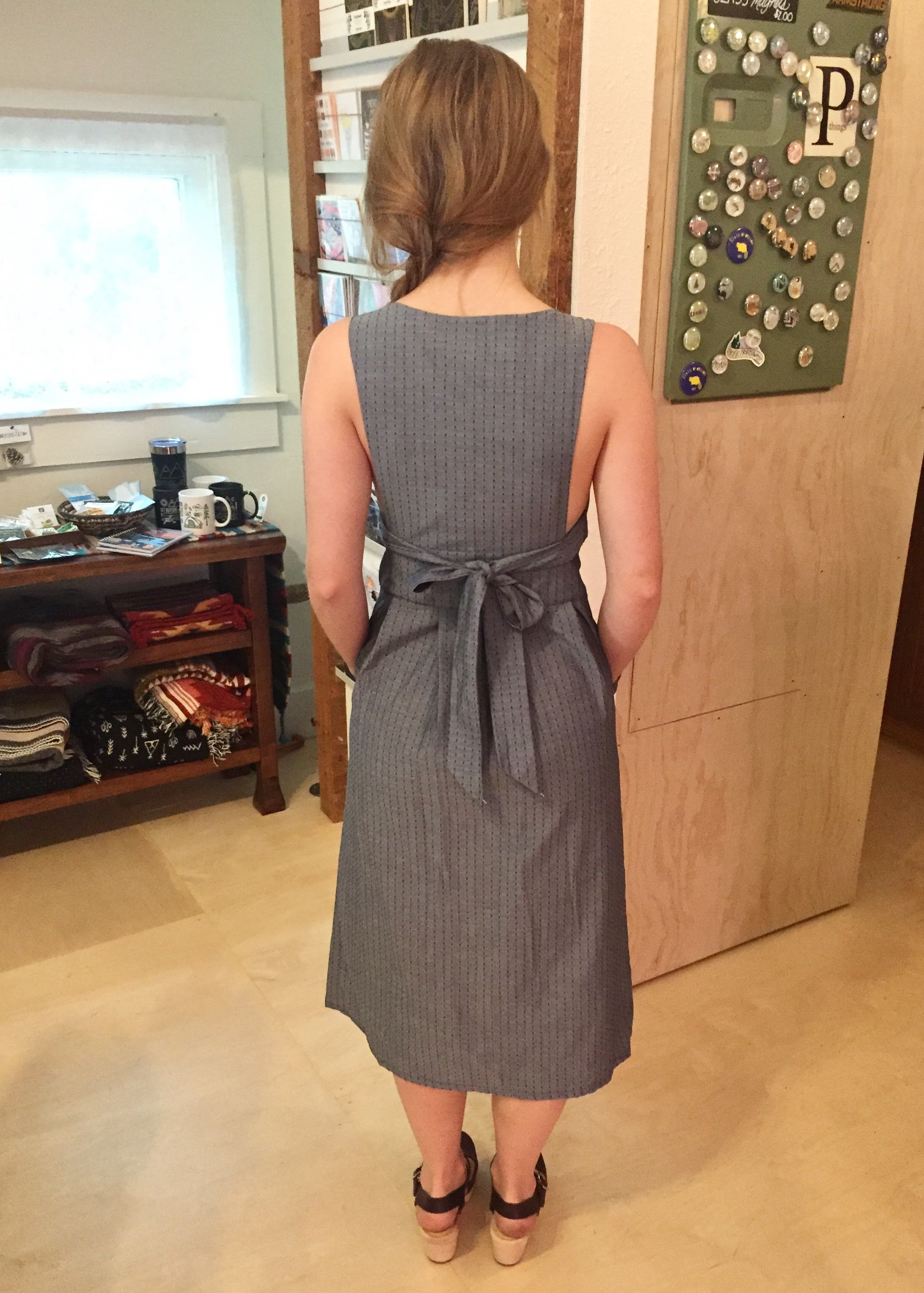 Field Day Brigid Pinafore Dress Chambray