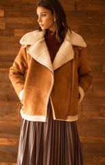 Moon River Suede Sherpa Coat