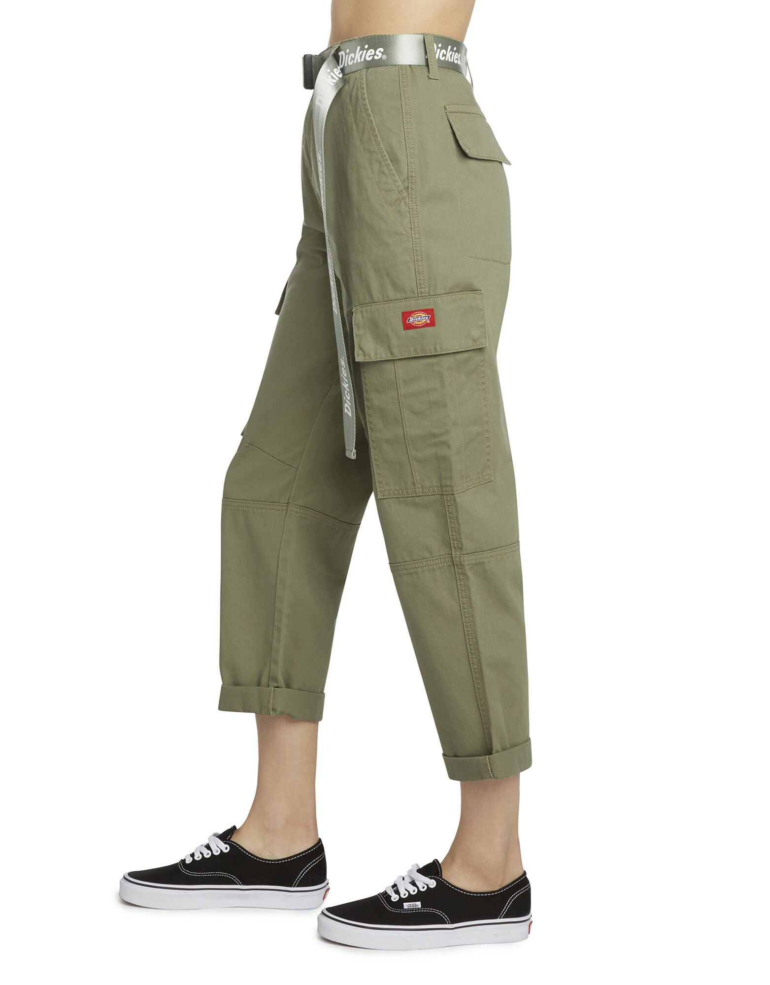 Dickies Girl Juniors' Belted Cropped Cargo Pants