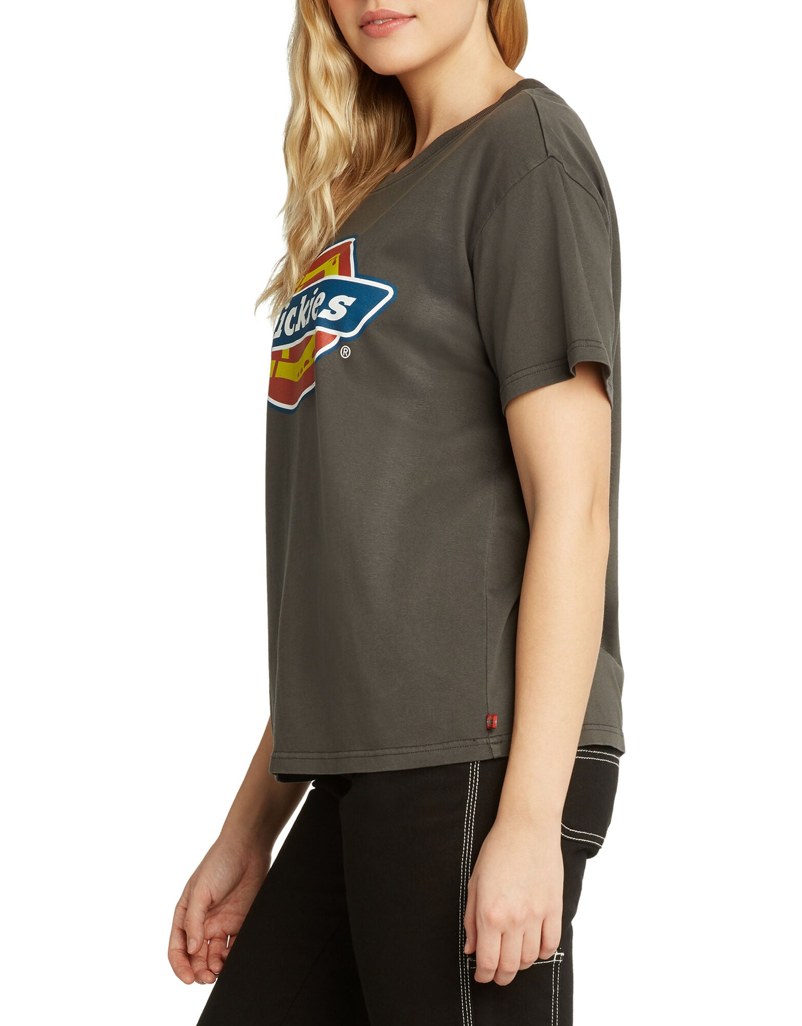 Dickies Girl Short Sleeve Boyfriend T-Shirt with Tricolor Logo
