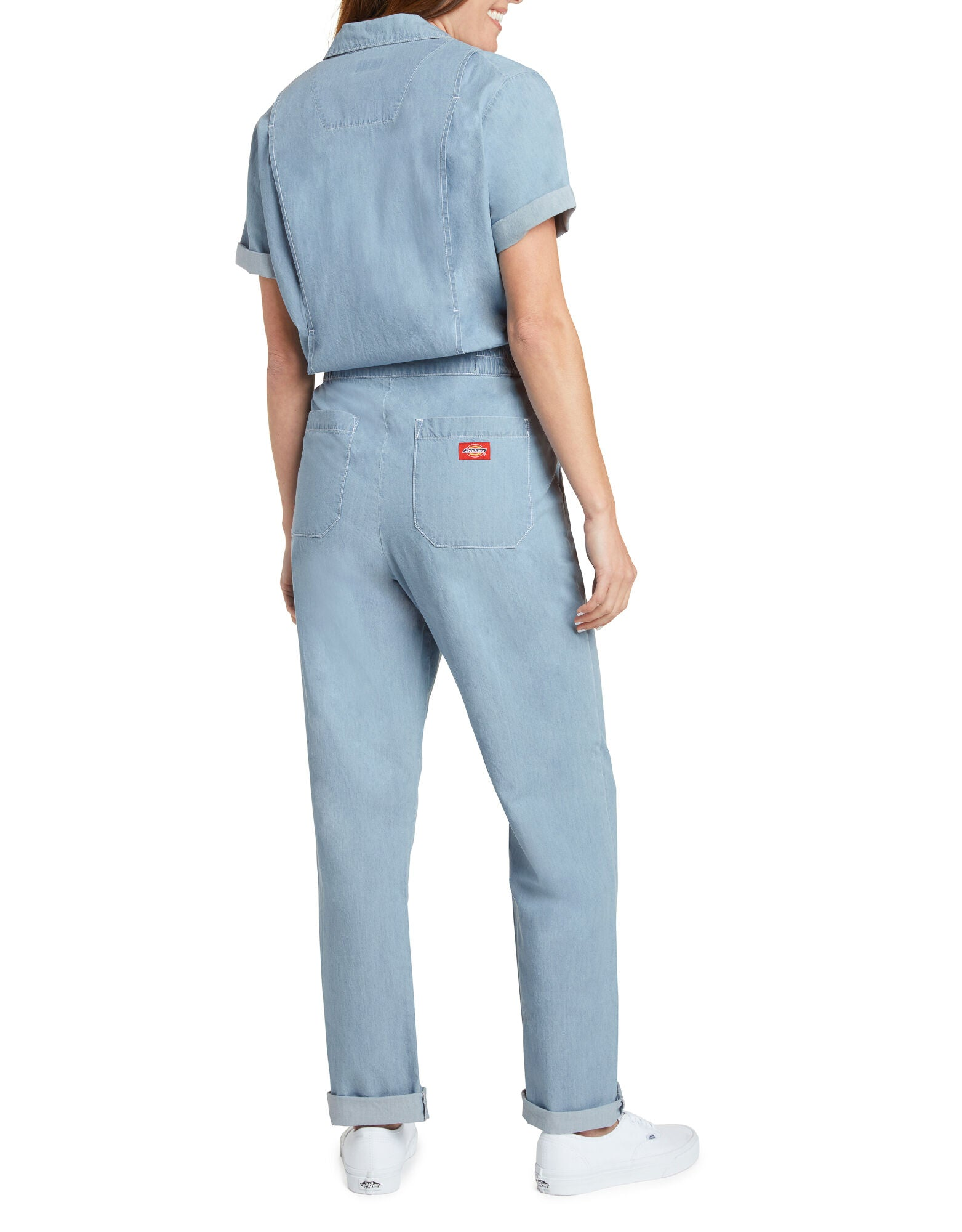 Dickies Girl Short Sleeve Worker Coveralls, Light Blue