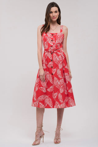 Moon River Palm Midi Dress