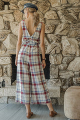 Moon River Plaid Linen Jumpsuit