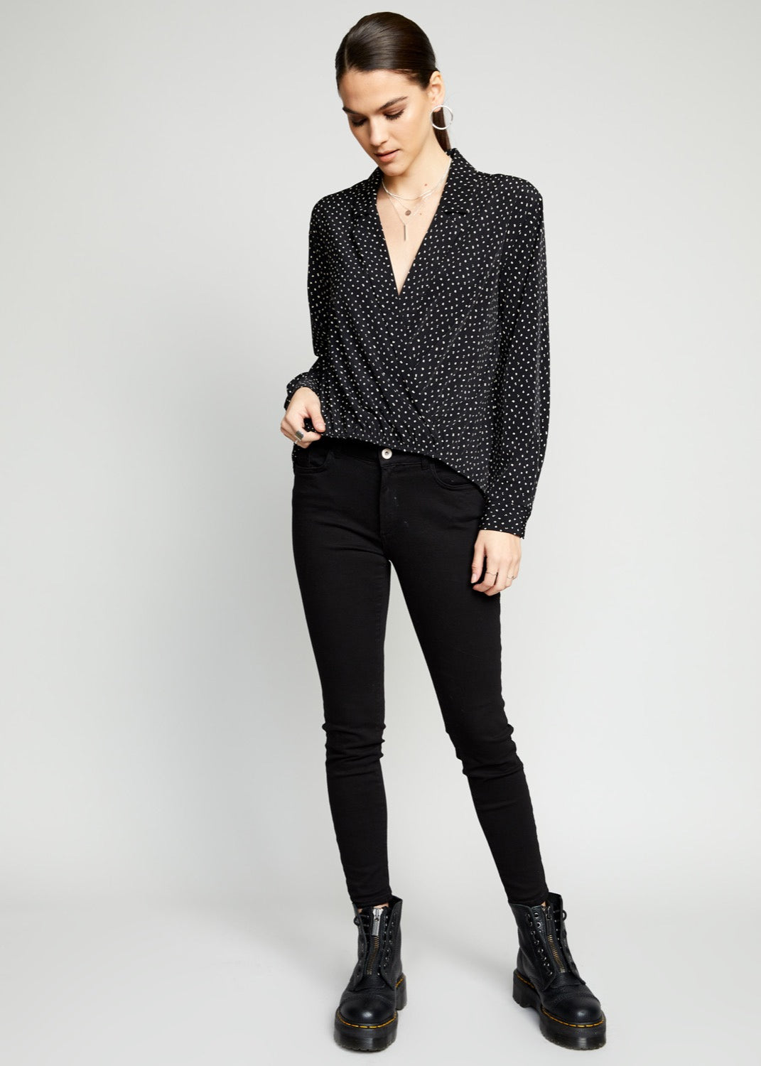 The Good Jane Domino Wrap Blouse