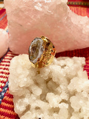 Geode Slice Hammered Ring