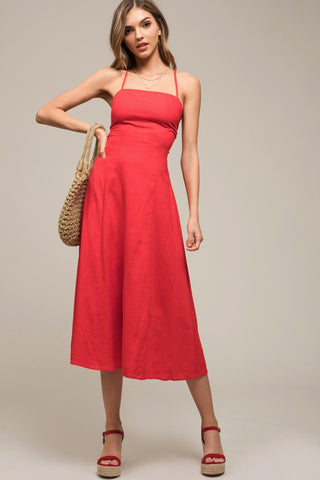 Moon River Tie Back Midi Linen Dress