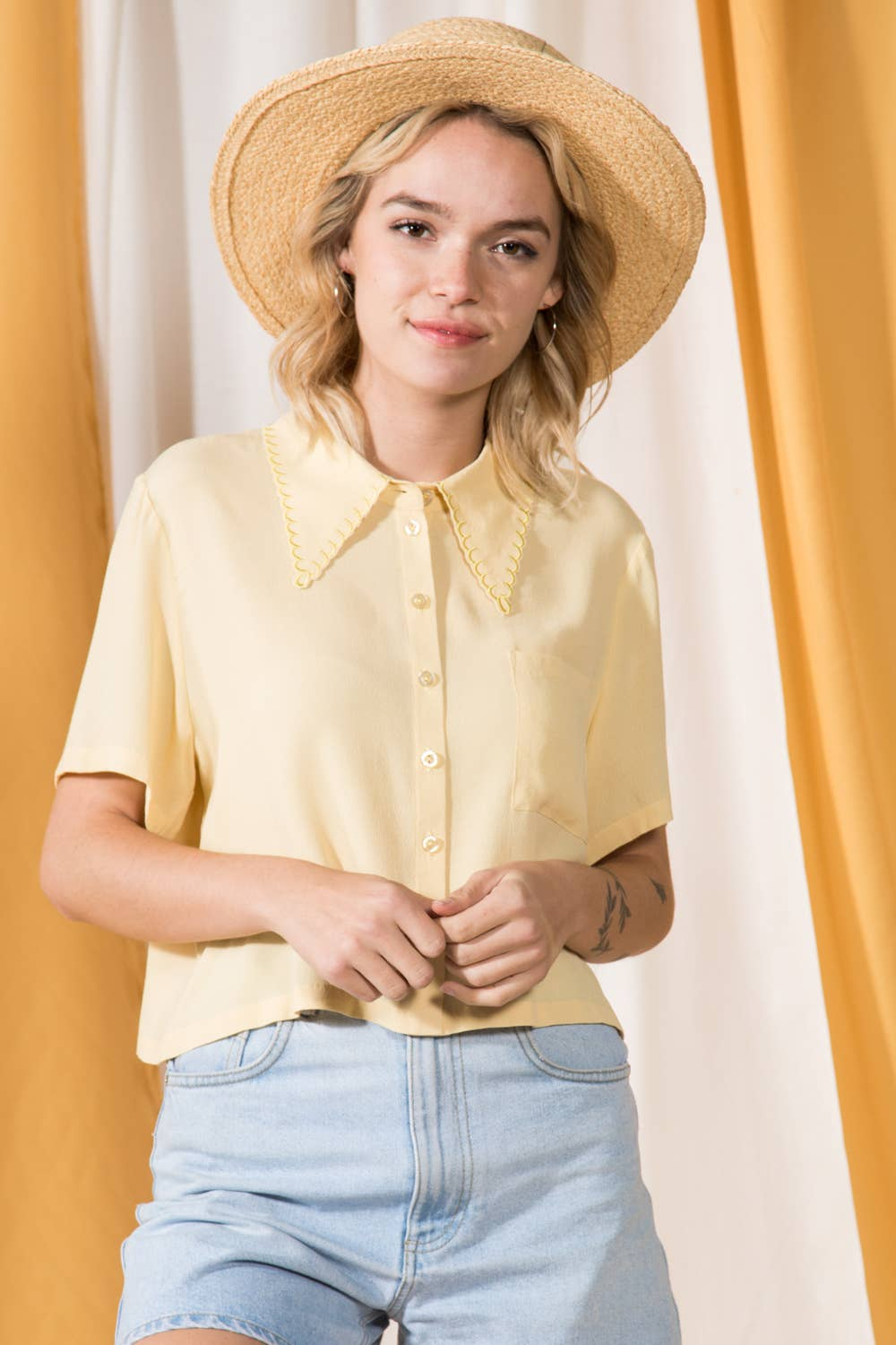 Scallop Collar Tea Blouse