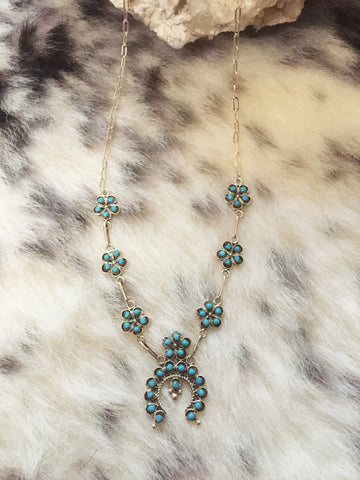 Zuni Dot Turquoise Squash Necklace