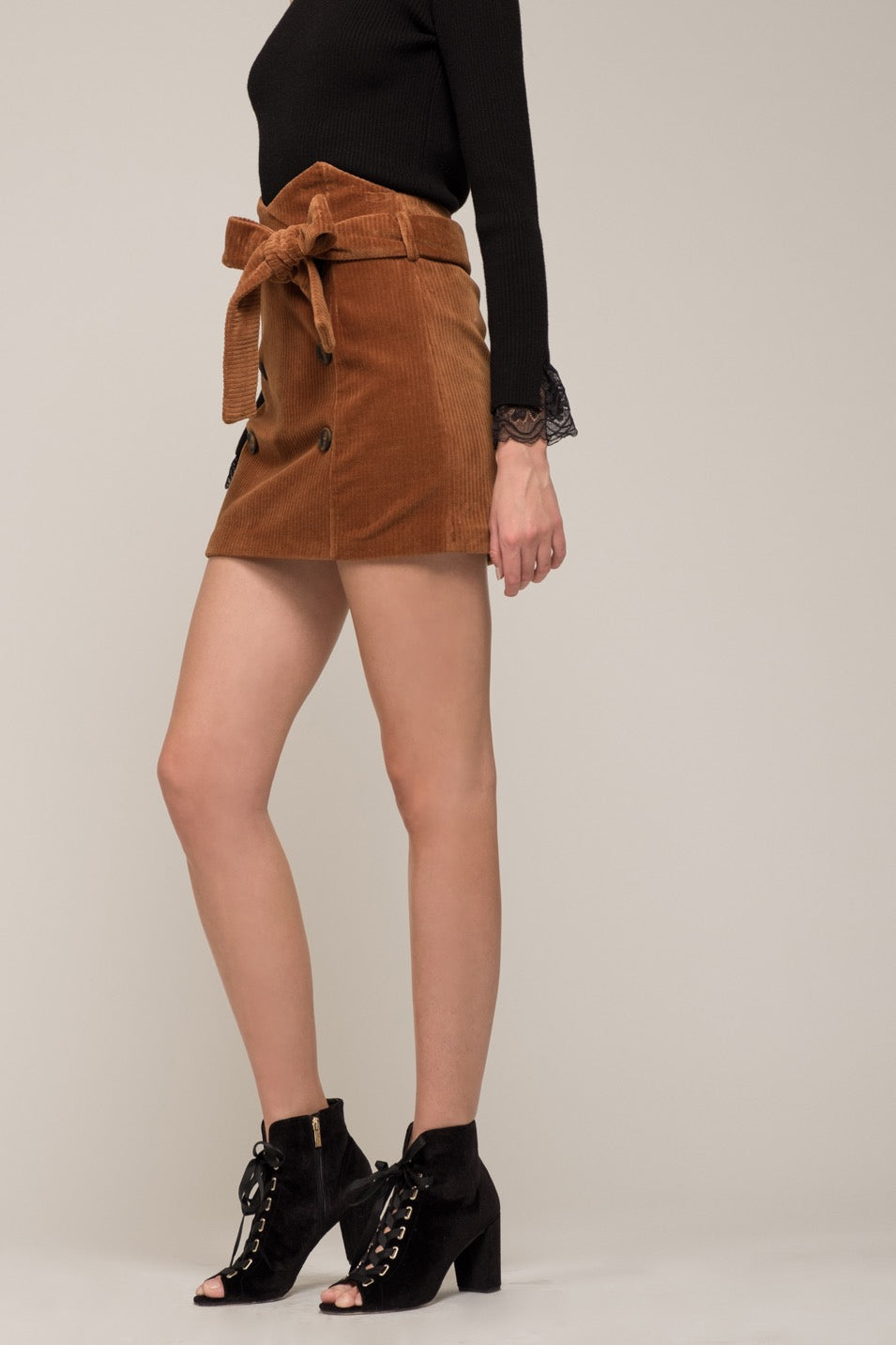 Moon River Double Button Cord Skirt
