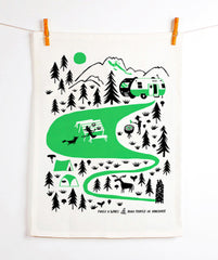 Forest and Waves Camping Tea Towel
