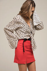 Moon River Tie Front Blouse