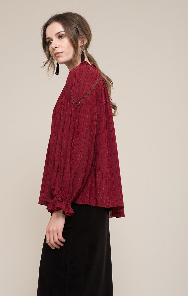 Moon River Cranberry Blouse