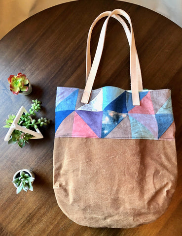 Quilt Pattern Waxed Canvas Tote