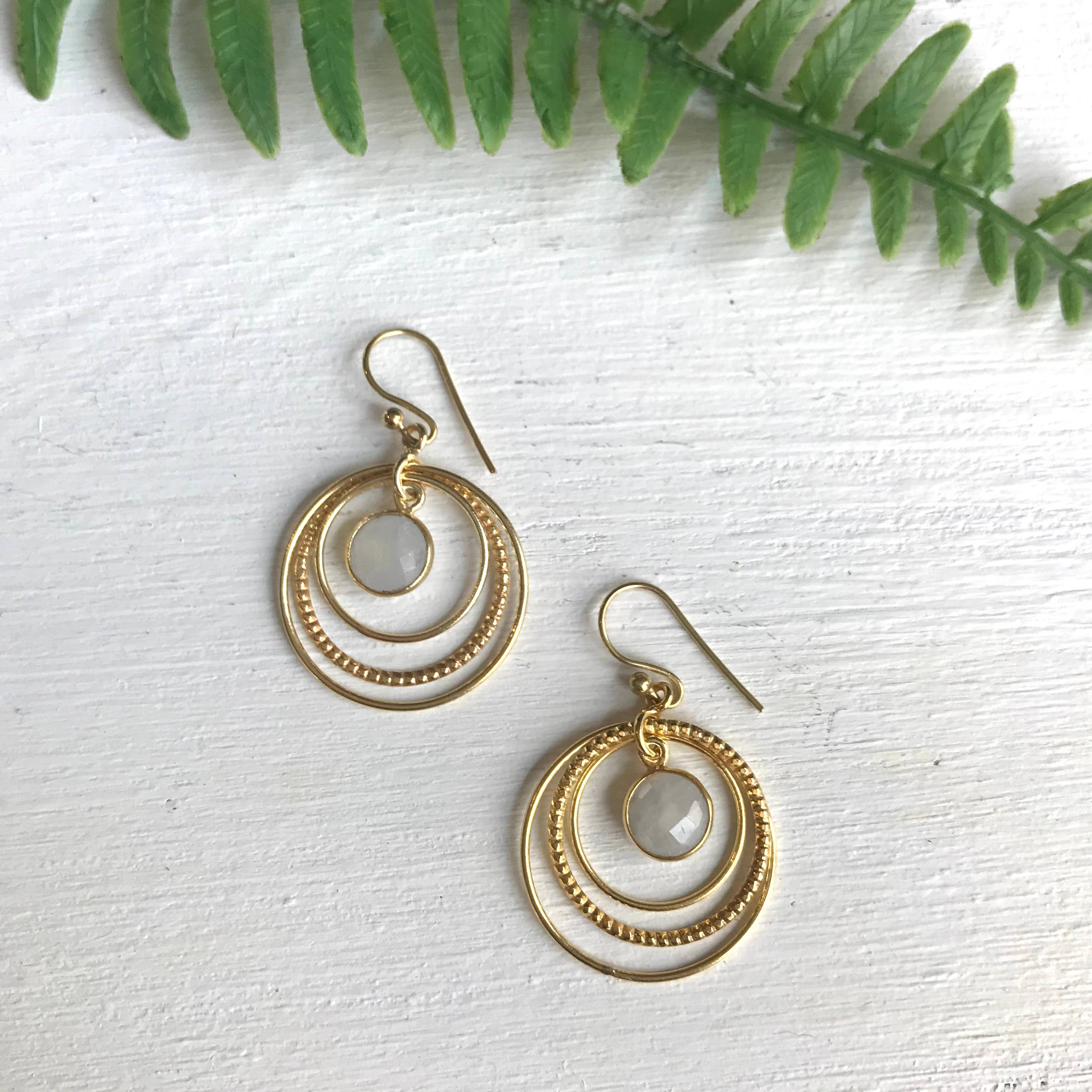 Circles Moonstone Earrings
