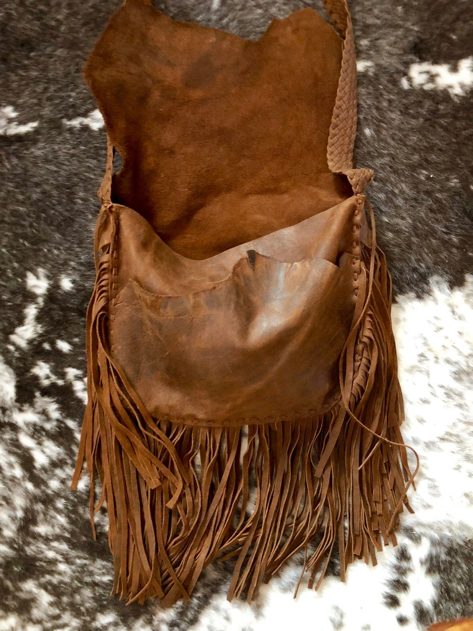 Leather Hags Large Fringe Bag