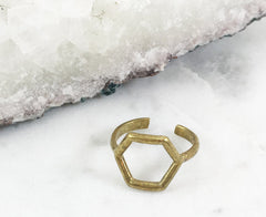 Brass Hexagon Midi Ring