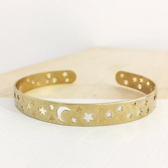 Moon + Star Brass Bracelet