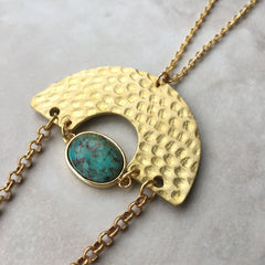 Hammered Stone Necklace