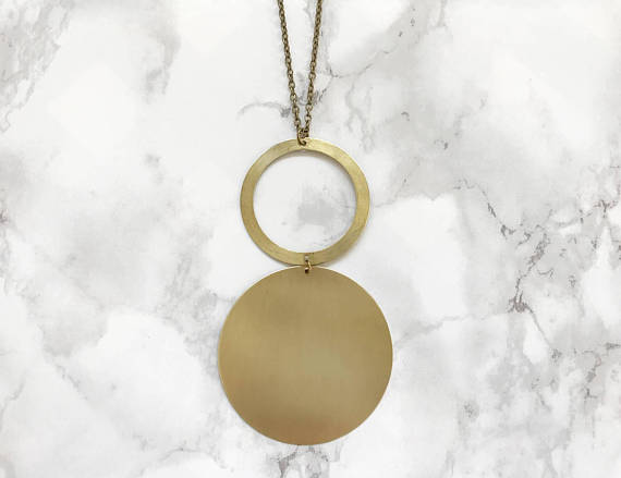 Open Circle Brass Necklace