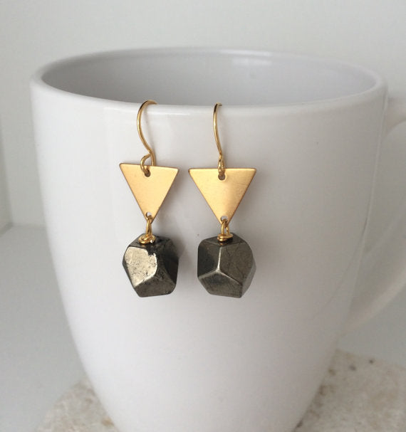 Pyrite + Brass Earrings