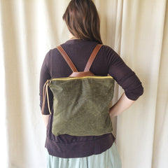 Dusty Brown Waxed Canvas Backpack