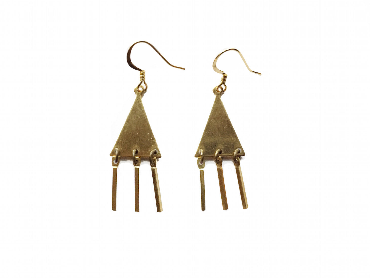 Black Crystals Triangle Dangle Earrings