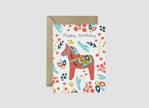 Dala Horse Birthday Card