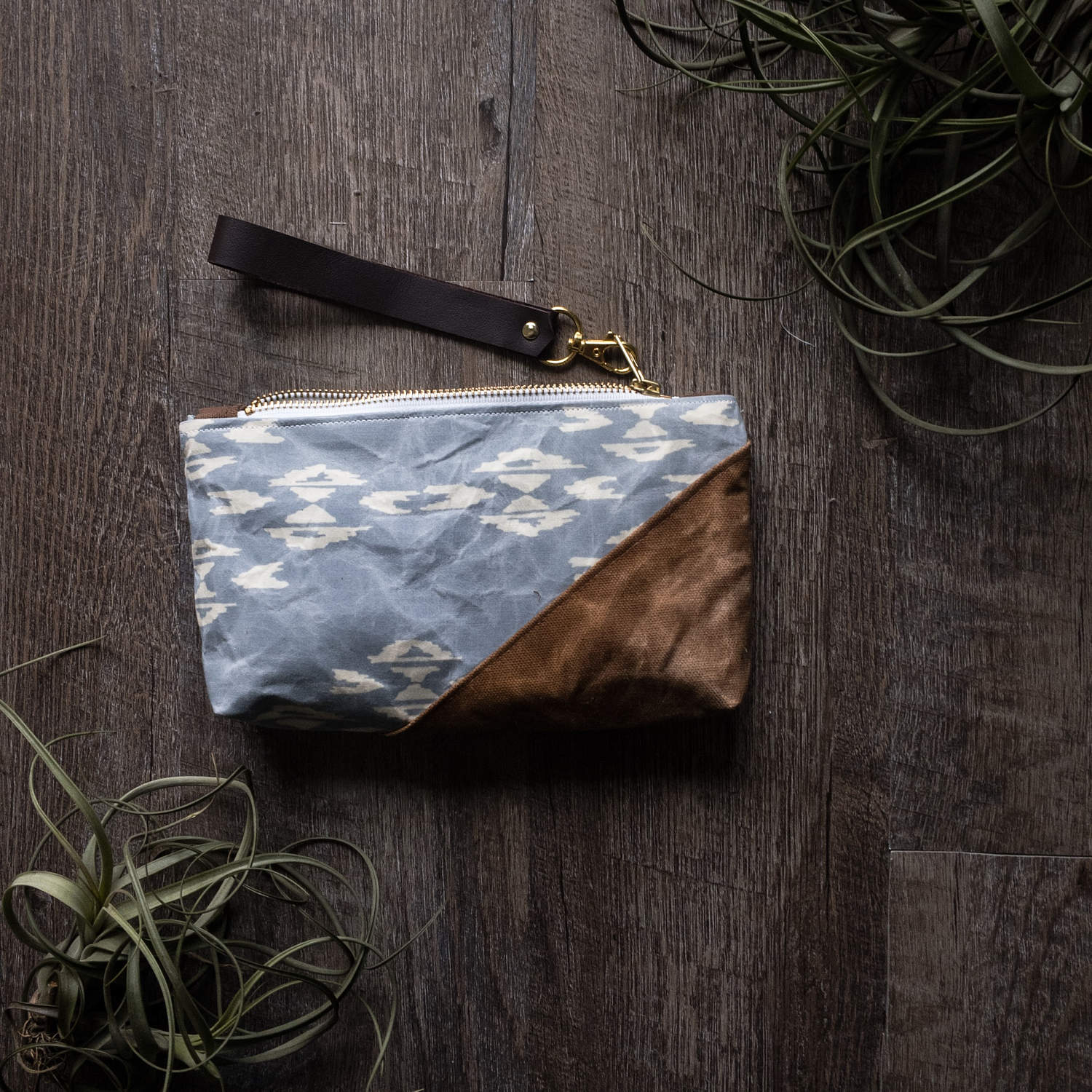 Sky Waxed Canvas Clutch