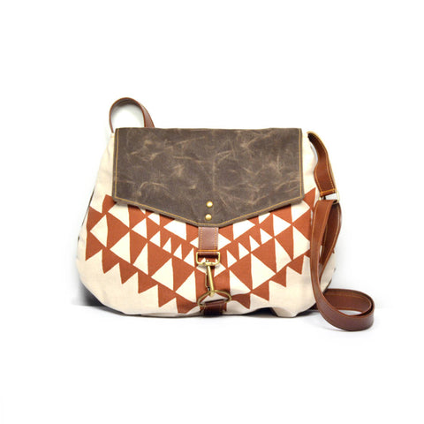 Terracotta Triangle Waxed Canvas Satchel
