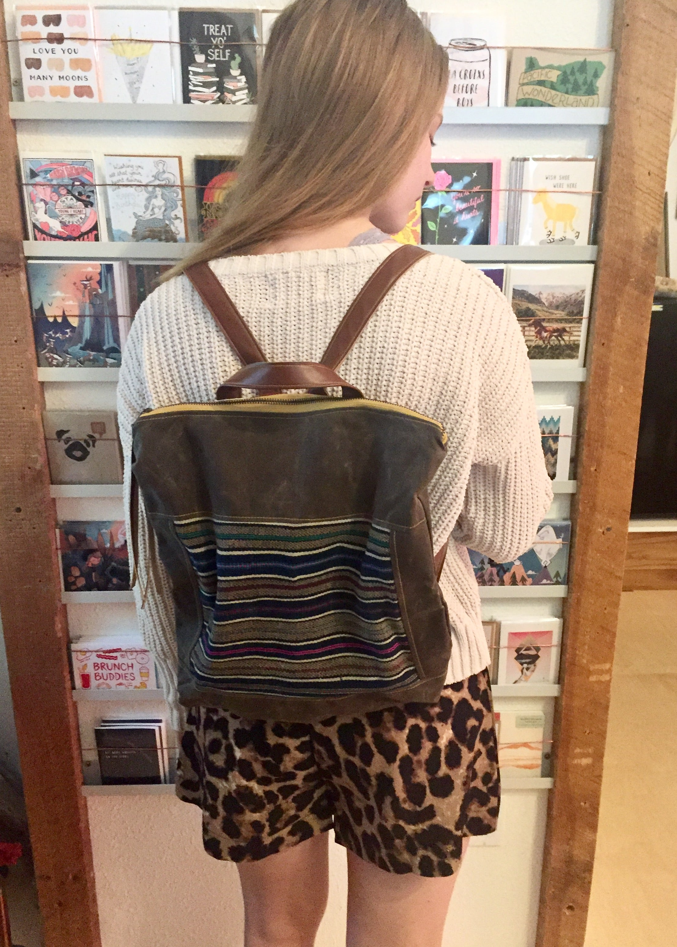 Rachel Elise Waxed Canvas Backpack