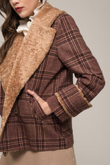 Moon River Sherpa Lined Plaid Jacket
