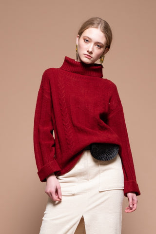 Moon River Ribbed Turtleneck Sweater