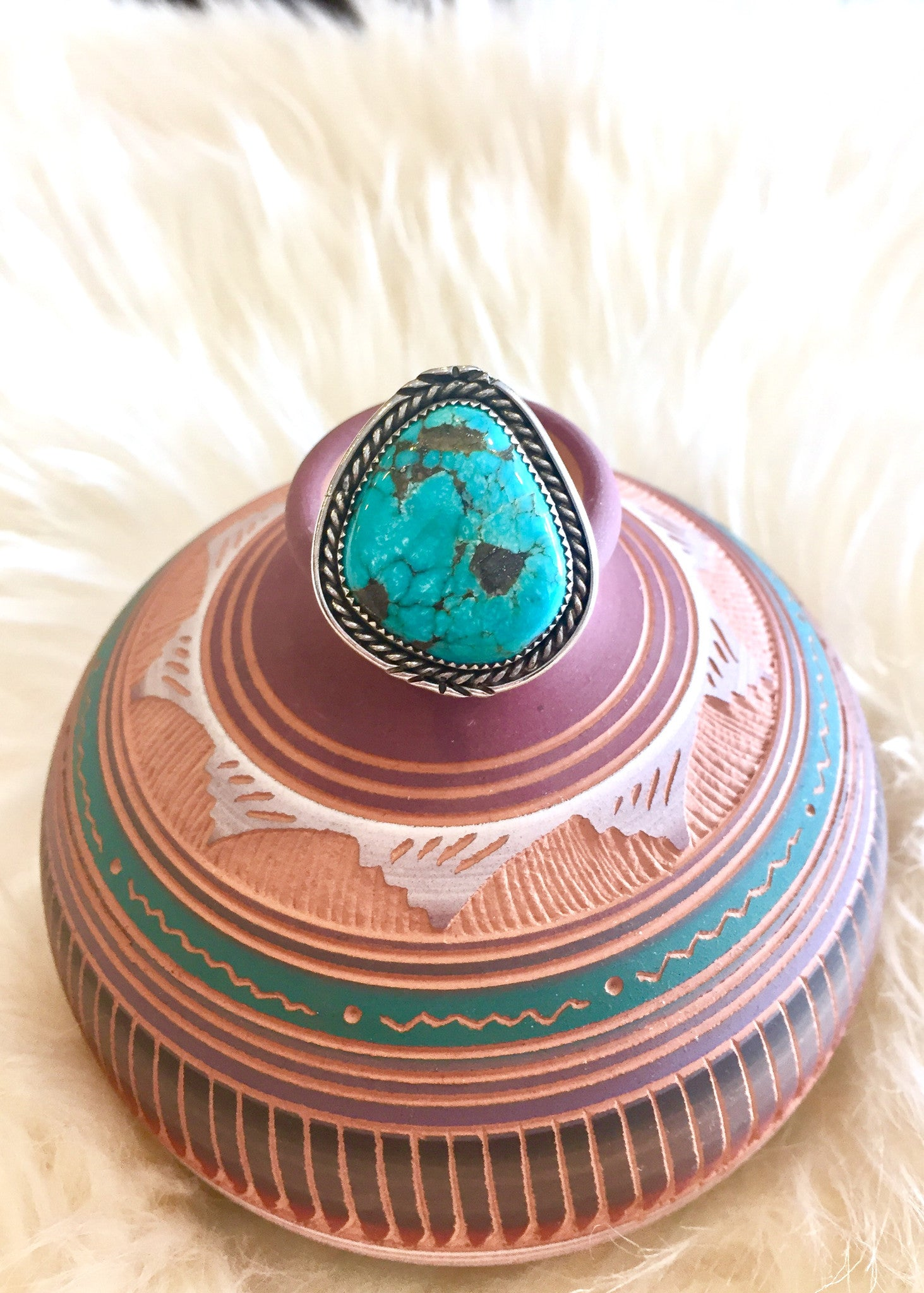Rope Border Turquoise Ring