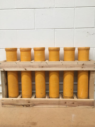 "6 x 4"" MORTAR TUBES IN A WOODEN RACK"
