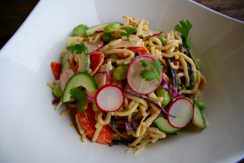Crisp Vegetable Thai Noodle Salad with Peanut Dressing