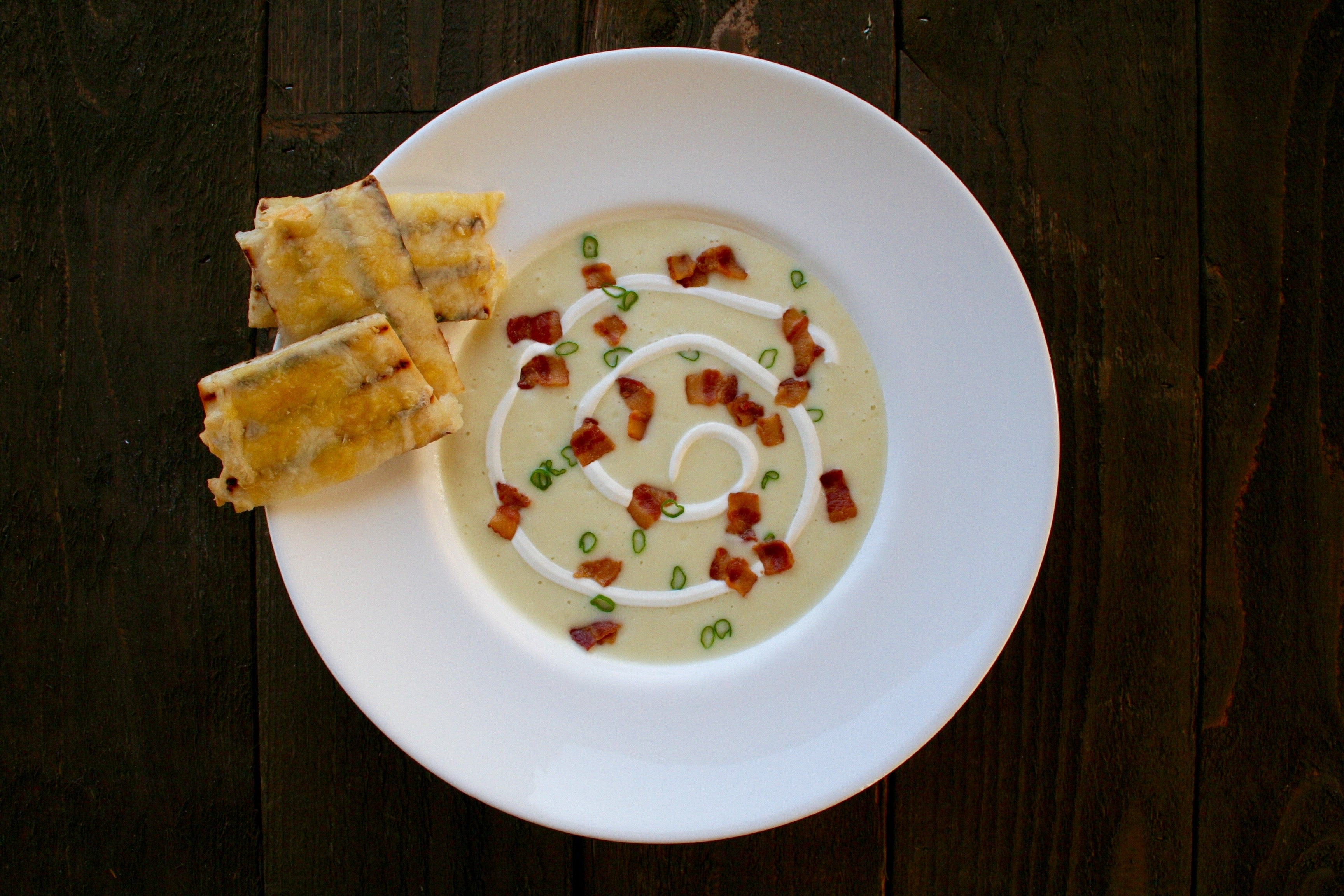 Root Vegetable Soup with Cheesy Flatbread and Sour Cream