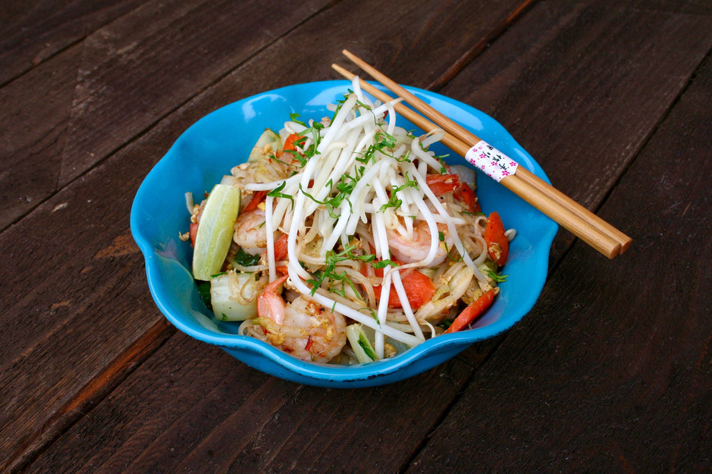 Prawn Pad Thai with Lime and Crisp Bean Sprouts
