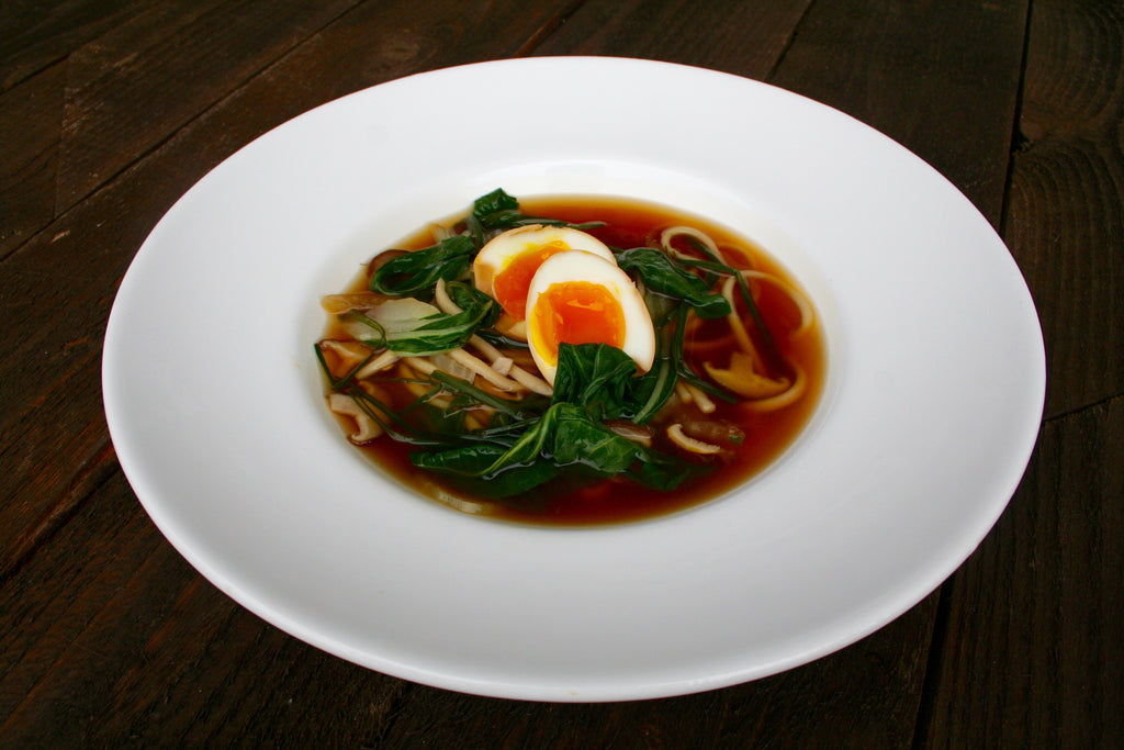 Udon Noodles Soup with a Marinated Soft Boiled Egg